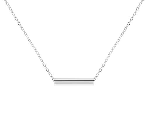 (KristLand - Women 18k Rose Gold Color Plated Bar Pendant Necklace Choker Simple Design Minimalist Silver Color)