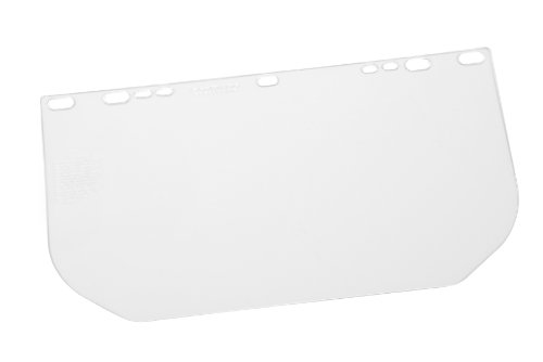 Gateway Safety 654 Rectangular Flat Stock Traditional Universal-Fit Headgear Visor, Clear/Unbound Lens, 8