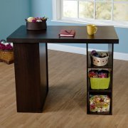 Counter Height Craft Table, Multiple Colors,Espresso, Has Two Fixed Shelves  And