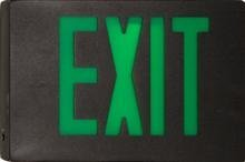 Morris Products 73364 Cast Aluminum LED Exit Sign, Green Letter Color, Black Face Color, Black Housing Finish