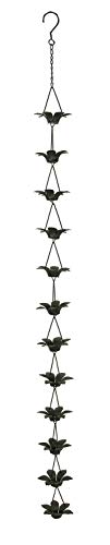 Zeckos Copper Finish Metal Lily Flower Rain Chain w/Attached Hanger 48 Inch