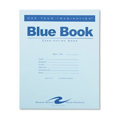 Price comparison product image ROARING SPRINGS Exam Blue Book, Margin Rule, 8-1/2 x 7, White, Four Sheets/Pad (Case of 48)