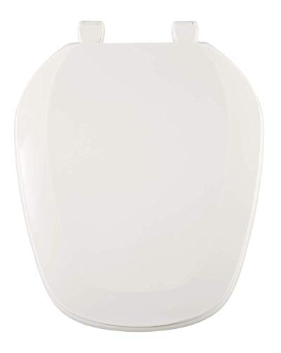 Front White Round - Centoco EMB201-001 Eljer Emblem Round Toilet Seat with Square Front, White
