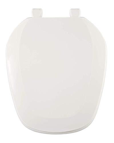 White Round Front Toilet Seat - Centoco EMB201-001 Eljer Emblem Round Toilet Seat with Square Front, White