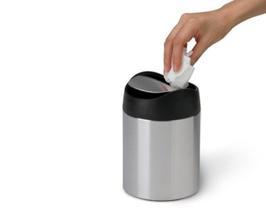 simplehuman Countertop Trash Can, Brushed Stainless Steel, 1.5 L / 0.40 Gal by simplehuman