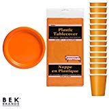Bek Brands Pumpkin Orange Party Bundle Tableware Solid Color Plates Cups and Tablecover - 31 -