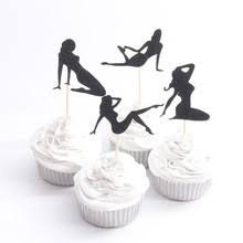Pole Dancers Cupcake Toppers Bachelorette Party Birthday Bride & Groom Bridal Shower New Years Party Cupcake Toppers Sexy Pin Up Silhouettes (Bachelor Cake Topper)