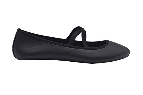 dELiAs Ladies Ballet Flats 8 M US Slip On Shoes with Elastic Straps Black