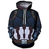 BRANDSALE Captain America Suit Up Hoodies for Halloween Costume | Zip Up Costume Hoodies for Daily (Captain America in Avengers Infinity war, -