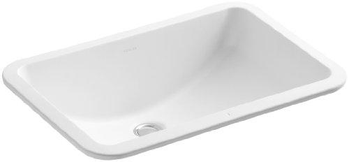 KOHLER K-2214-G-HW1 Ladena Undercounter Bathroom Sink with Glazed Underside, Less Overflow, Honed White (White Honed Vessels Hw1)