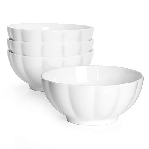 - DOWAN 24 Ounce Porcelain Soup/Cereal/Dessert Bowls, Non-slip & Stackable, Set of 4, White