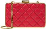 (Michael Michael Kors Elsie Quilted Box Clutch Dark Red Gold)
