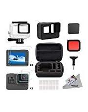 Deyard 25 in 1 Zubehör-Kit für GoPro Hero 7(Nur Schwarz) Hero (2018) GoPro Hero 6 Hero 5 mit Shockproof Small Case Bundle für GoPro Hero (2018) GoPro Hero 6 Hero 5 Action-Kamera