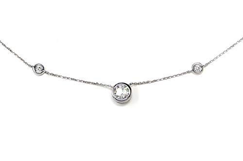 -F VS1 Diamond by The Yard Bezel Necklace with 1/2 Carat Center ()
