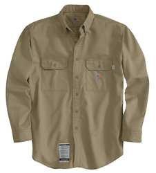 Carhartt Flame Resistant Collared Shirt, Khaki, Cotton/Nylon, M