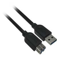 6 inch USB 3.0 A Male to A Female Extension Cable - Black - Distributed by NAC Wire and Cables