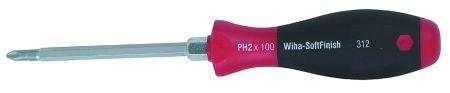 1 Bolster - Wiha Tools 31201 Soft Finish Cushion Grip Heavy Duty With Hex Bolster Phillips Screwdriver - No. 1 x 80 mm. by Wiha
