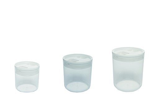 Click Clack Pantry Canisters Capacity, 0.6, 1.6, 3.3-Quart, White, Set of 3 (Click Clack Canister)