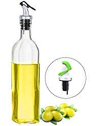 Olive Oil Dispenser, Elegant Life 16.50oz Vinegar Glass Cruet Bottle Set with One Free Automatic Oil Dispensing Pour Spouts for Oil Kitchen