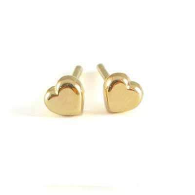 Girl's Jewelry - 18K Yellow Gold Heart Push On Stud Earrings