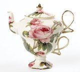 Elegant Romantic Rose Victorian Porcelain Teapot And Teacup Duo Beautiful Gift Item