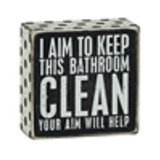 Price comparison product image Primitives by Kathy 1 X I Aim To Keep This Bathroom CLEAN Your Aim Will Help Wooden Sign