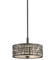 Kichler  43049OZ Loom 3-Light Convertible Fixture, Bronze Finish with Satin Etched Glass and Off-White Fabric -