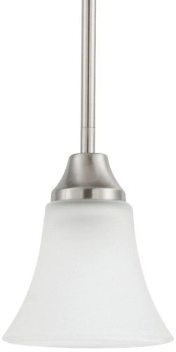 Sea Gull Lighting 61806-962 Pendant with Satin Etched Glass Shades, Brushed Nickel Finish