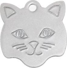 Bow Wow Meow Personalizado Chapa identificativa para Gatos de Acero Inoxidable con Forma de Cara de Gato (Pequeño) | Servicio DE Grabado: Amazon.es: ...