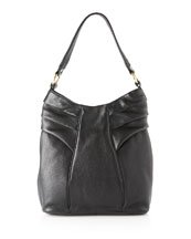 Leather Large Pleated Hobo (BODHI Black Pleated Hobo Shoulder Bag)