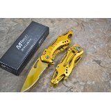 M Tech Tactical Folding Knife Gold Titanium Coating Half Serrated Stainless Steel Blade Knife