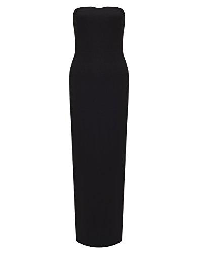 Lipsy Mujer Vestido Largo Veraniego Maxi Escote Palabra De Honor Sin Tirantes Negro