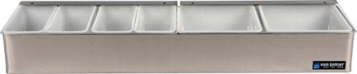 San Jamar B4246L Stainless Steel Non-Chilled Garnish Tray with Split Lid, 24'' Width x 3-1/2'' Height x 5-3/4'' Depth by San Jamar (Image #2)