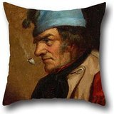Oil Painting Cornelius Krieghoff - Habitant With Blue Tuque And Pipe Throw Pillow Covers ,best For Indoor,play Room,her,bedding,office,dance Room 20 X 20 Inches / 50 By 50 Cm(twice Sides) ()