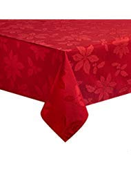 Poinsettia Legacy Damask Christmas Tablecloth (Red, 60