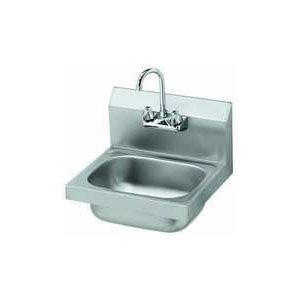 - Krowne Metal HS-2 Hand Sink 17 Long x 15 Back 6 Deep Includes Splash Mount Gooseneck Faucet
