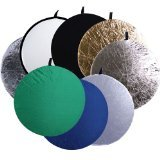 CowboyStudio  8-in-1 32 Inch Round Collapsible Disc Reflector, with Translucent, White, Black, Blue, Green, Gold, and Silver, 8-IN-1 by CowboyStudio