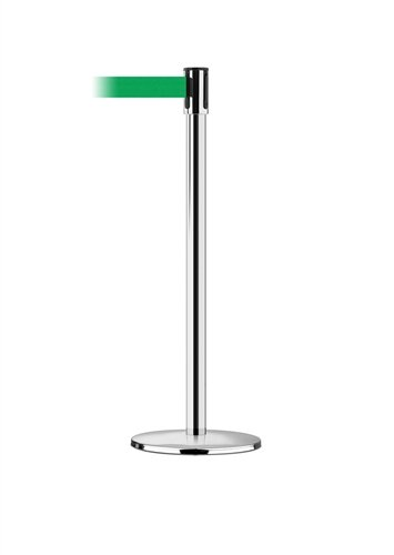 Lawrence Crowd Control Polished Chrome Post, 7.5 Feet dark green - Chrome Barrier Post