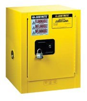 Justrite 891520 Sure-Grip EX Galvanized Steel 1 Door Self-Close Flammable Compac Safety Storage Cabinet, 15 Gallon Capacity, 23-1/4'' Width x 44'' Height x 18'' Depth, 1 Adjustable Shelfs, Yellow