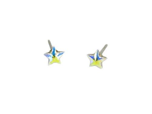 Aurore Boreale Star Shape Swarovski Crystal Element Earrings, 5mm