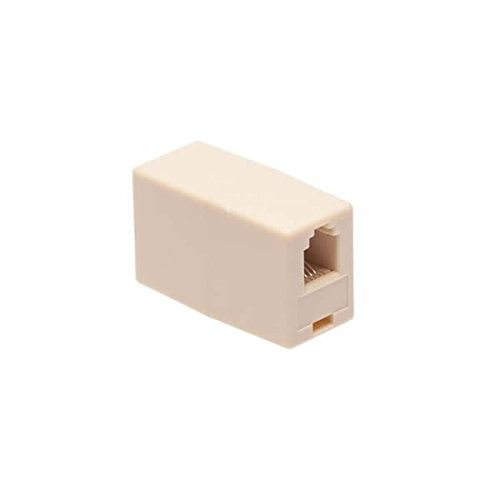 Phone Coupler - Ivory Phone Handset RJ9 Cord Coupler Connector Extender - Connect Two Telephone Handset Cables Together 4P4C