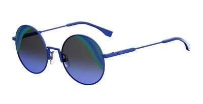 Fendi FF 0248 PJP Waves Blue Metal Round Sunglasses Blue Green Striped Lens