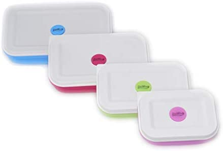 Set of 4 Sailing Elegant Silicone Collapsible Lunch Box//Food Storage Container