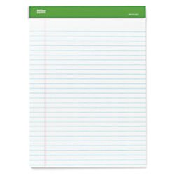 Office Depot(R) Brand 100% Recycled Perforated Writing Pads, 8 1/2in. x 11 3/4in., 50 Sheets White, Pack Of 6 Pads