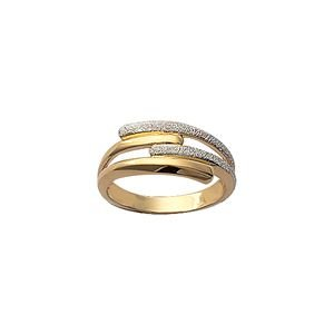 So Chic Jewels - 18K Gold Plated Two Tone Overlap Band Ring - Size 6