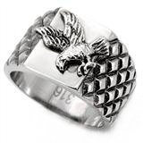 Proud American Eagle Ring - (Silver Color) Veteran Military Jewelry - USA Pride Decal Bald Eagle Emblem.