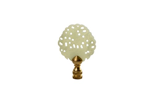 Beautiful Vintage Style Hand Carved Green Jade Pierced Lamp Finial 3'' by Asian Style Furnishing