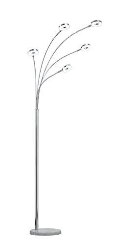 Trio Rennes - Lámpara de pie con 5 luces, 4 W, interruptor, color cromo