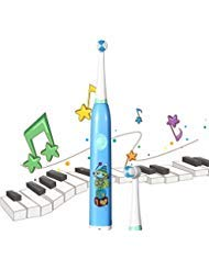 ACHICOO Kids Electric Toothbrush, USB Rechargeable, 2 Brush Heads, Rotating Cleaning, 2 Minutes Reminding Timer, Built-in 4 Kinds of Music, IPX7 Waterproof with Extra Soft Bristles and Cute Sticker