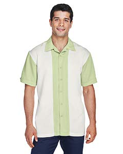 Camp Shirt Gauze - HA MENS TWO TONE CAMP SHIRT (GREEN MIST/CREME) (L)